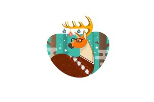 Christmas Card with Nerd Hipster Deer,Flat illustration