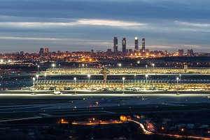 Madrid-Barajas Airport during night