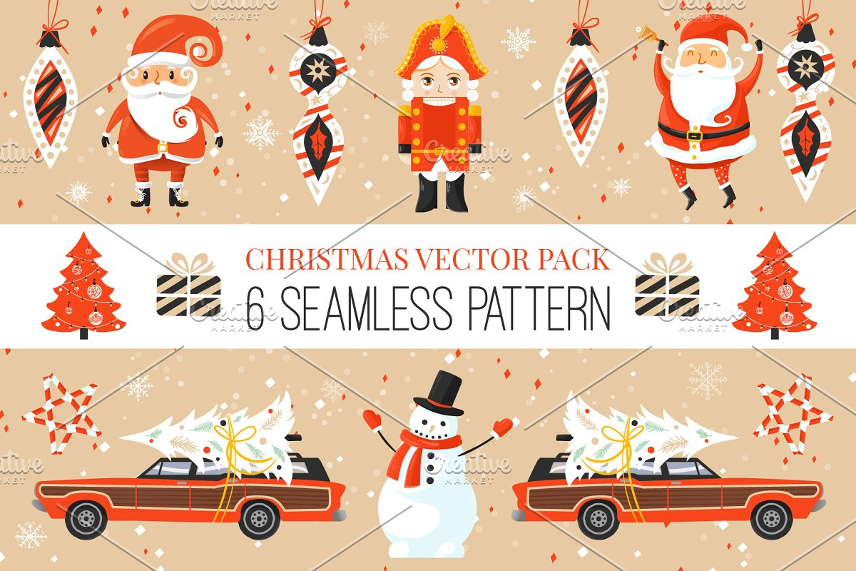 Colorful Retro Christmas Patterns