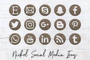 Social Media Icons - Satin Nickel