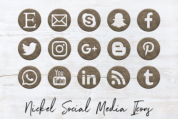 Social Media Icons - Satin Nickel