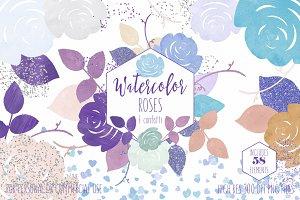 Purple & Mint Watercolor Rose Floral