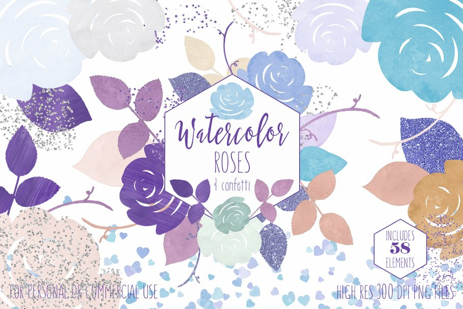 Purple & Mint Watercolor Rose Floral in Illustrations