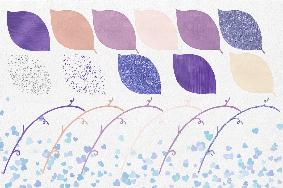 Purple & Mint Watercolor Rose Floral in Illustrations - product preview 1