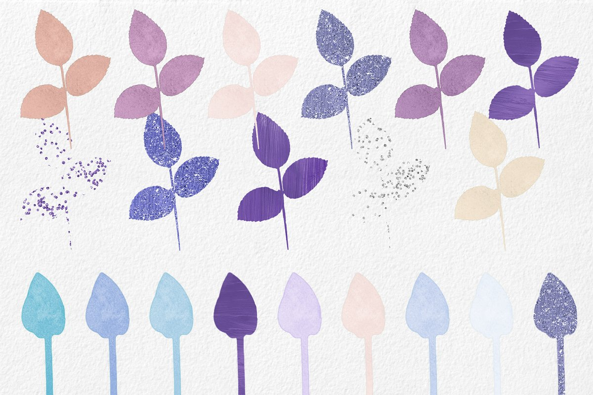 Purple & Mint Watercolor Rose Floral in Illustrations - product preview 2