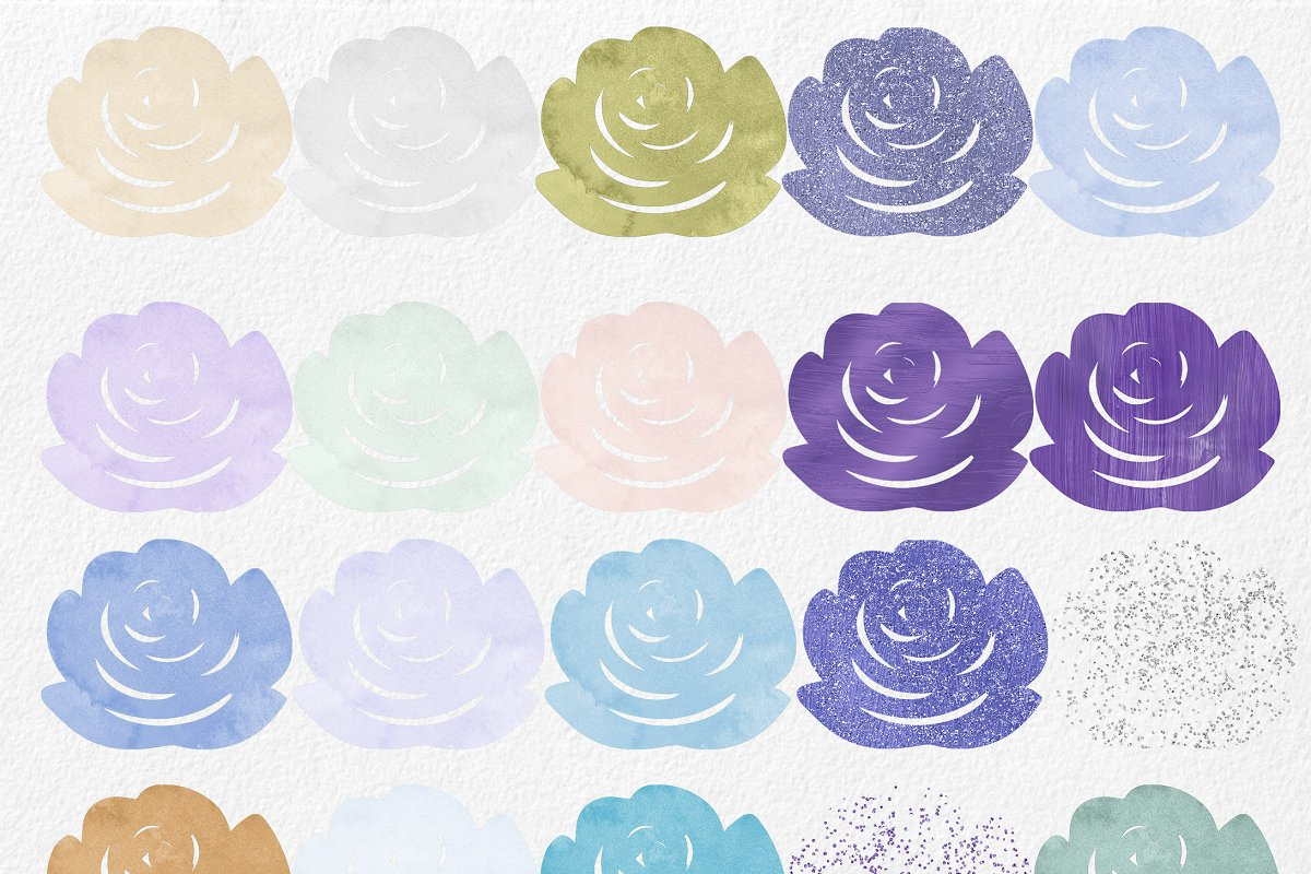 Purple & Mint Watercolor Rose Floral in Illustrations - product preview 3
