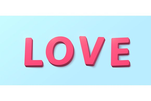 Word Love with 3d effect plastic pink red letters. Happy valentines day greeting