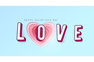 Word Love with 3d effect letters. Heart paper cut multi red pink color layers