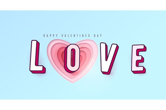 Word Love with 3d effect letters. Heart paper cut multi red pink color layers in Illustrations