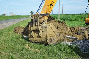 Bucket of the excavator on installation