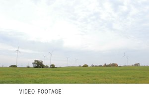 Wind turbines in the field.