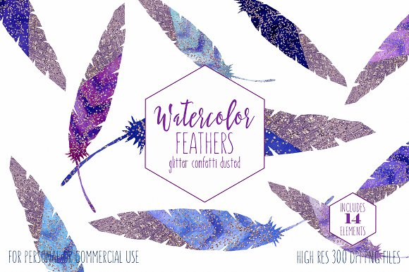 Watercolor Blue & Purple Feathers