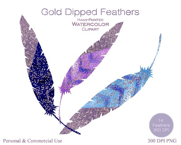 Watercolor Blue & Purple Feathers in Illustrations - product preview 1