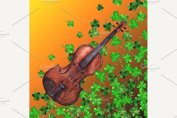 Watercolor violin clover background