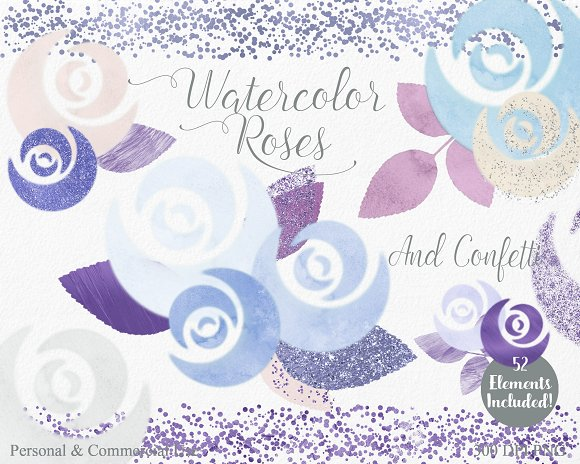 Chic Watercolor Rose Floral in Illustrations - product preview 3