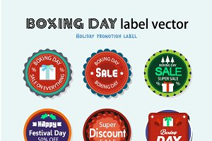 Boxing day label vector promotion