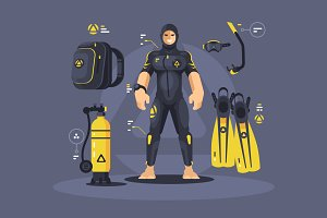 Diver in wetsuit and diving equipmen
