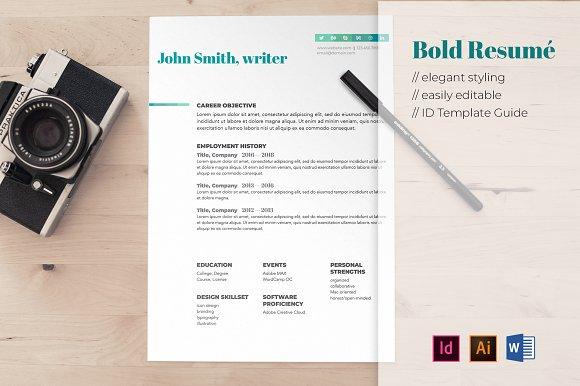 bold resume template templates creative market