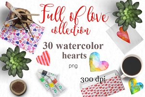 Watercolor hearts. Valentine's set