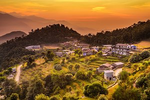 Sunset above Dhampus in Nepal