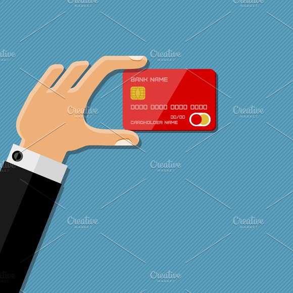 Hand holding credit card in Illustrations