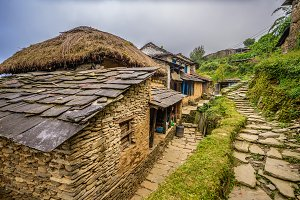 Village of Dhampus in the Himalayas mountains in Nepal