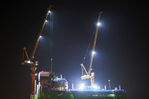 Under construction site at night