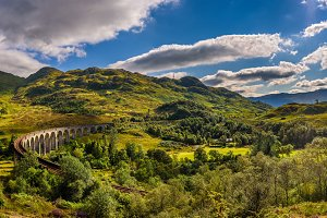 Panorama of Glenfinnan Railway Viaduct in Scotland