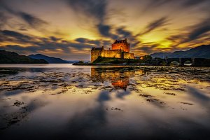 Sunset over Eilean Donan Castle in Scotland