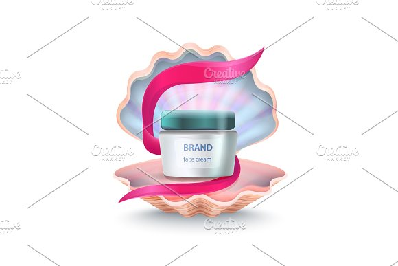 Brand Face Cream in Shell Vector Illustration