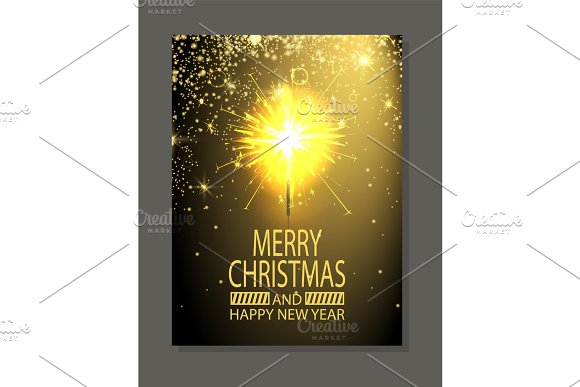 Merry Christmas and Fire, Vector Illustration