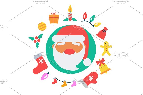 Santa Claus and Icons Vector Illustration
