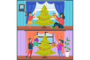 Home Celebration Collection Vector Illustration