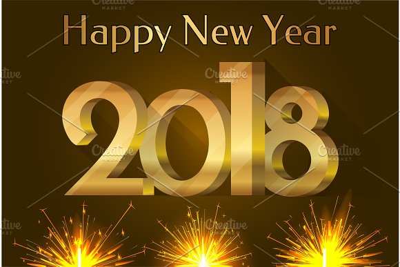Happy New Year 2018 Placard Vector Illustration