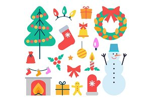 Christmas Elements Icons Set Vector Illustration