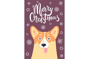 Merry Christmas Greetings Card Vector Illustration