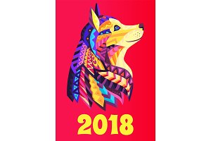 New Year Poster 2018 with Dog Symbol Brochure