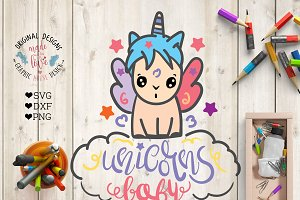 Cute Baby Kawaii Unicorn Cut File