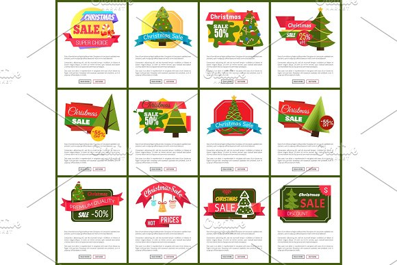 Set of Christmas Sale Hot Price 50% Off Posters
