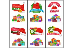 Festive Christmas Sale Announcement Posters Set