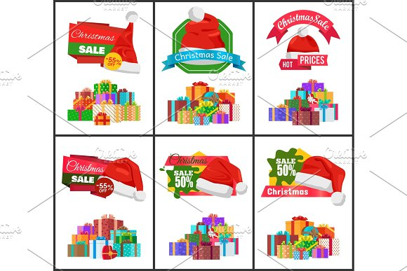 Festive Christmas Sale Announcement Posters Set