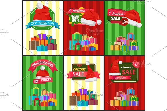 Big Set Christmas Sale Advertisement Promo Posters