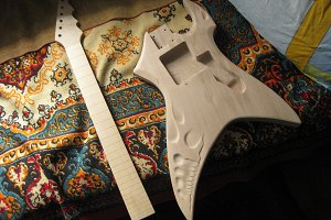 Wood blank for electric guitar. Homemade electric guitar.