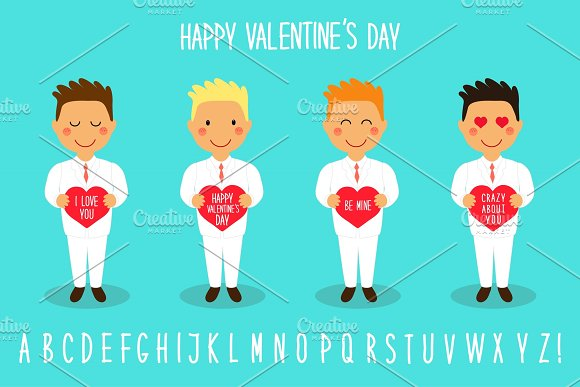 Cute Valentine's Day cartoon characters of loving boys with heart in hands