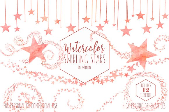 Salmon Celestial Sky Star Graphics