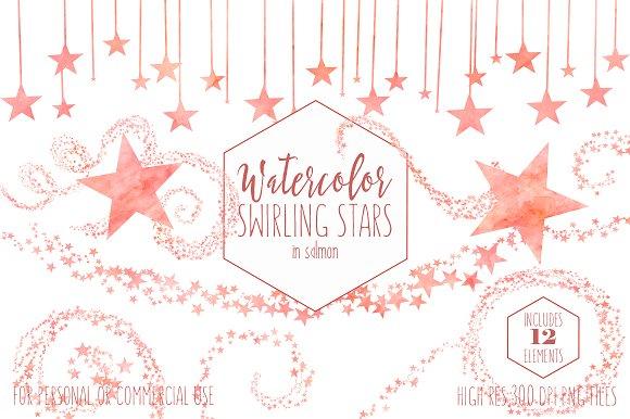 Salmon Celestial Sky Star Graphics in Illustrations