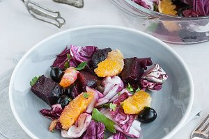 Fresh beet, radicchio, orange salad