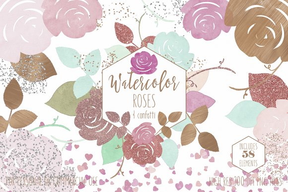 Rose Gold & Blush Watercolor Roses in Illustrations