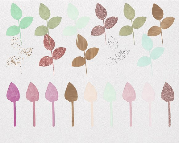 Rose Gold & Blush Watercolor Roses in Illustrations - product preview 2