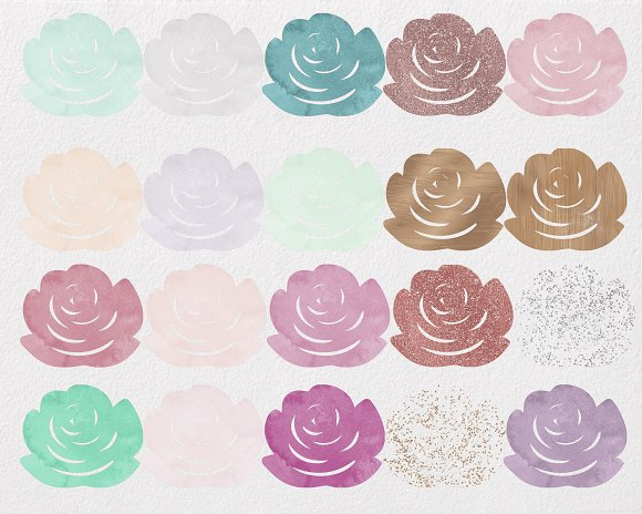 Rose Gold & Blush Watercolor Roses in Illustrations - product preview 3